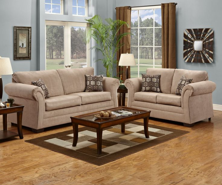2255 Simmons Victory Lane Taupe Sofa And Loveseat Taupe