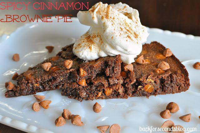Spicy Cinnamon Fudge Brownie Pie - A little kick makes this rich. fudgy pie irresistible!  http://backforsecondsblog.com  #brownierecipe #spicychocolate #pie