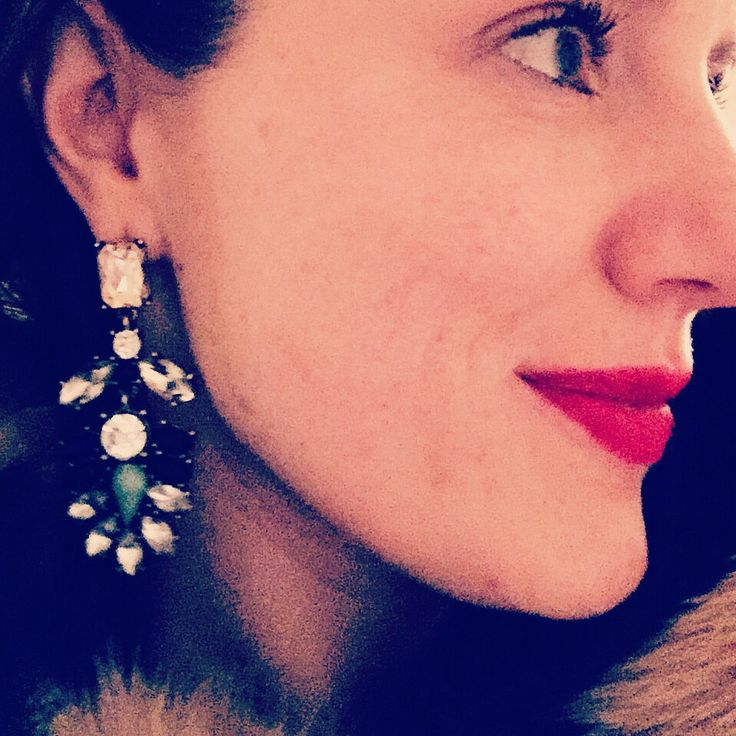 My Shining Armour Roma Earrings available at www.myshiningarmour.com with Mac rubywoo red lipstick and Zara faux fur