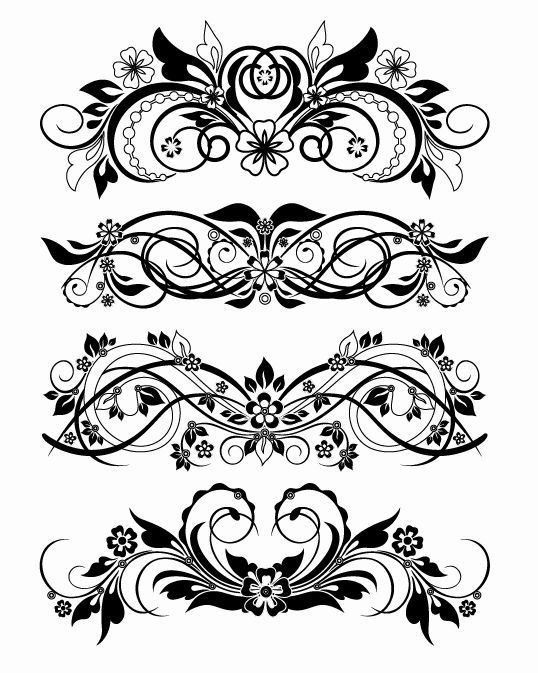 Vector Floral Ornaments I would use this with ink but I am also going to embroider them. Would look awesome.