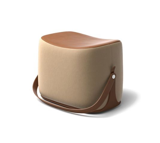 """Ottoman Hermes ottoman with strap that makes it highly portable. L21.1"""" x H14.1"""" x W13.6"""". Storage area covered in gold leather.<br />Cover in pumpkin Palomino velvet.<br /><br />Recalling the shape of a saddle, the ottoman offers small occasional seating and occasional storage.<br />This piece is crafted in the style of fine leather goods and requires intricate craftsmanship.<br />"""