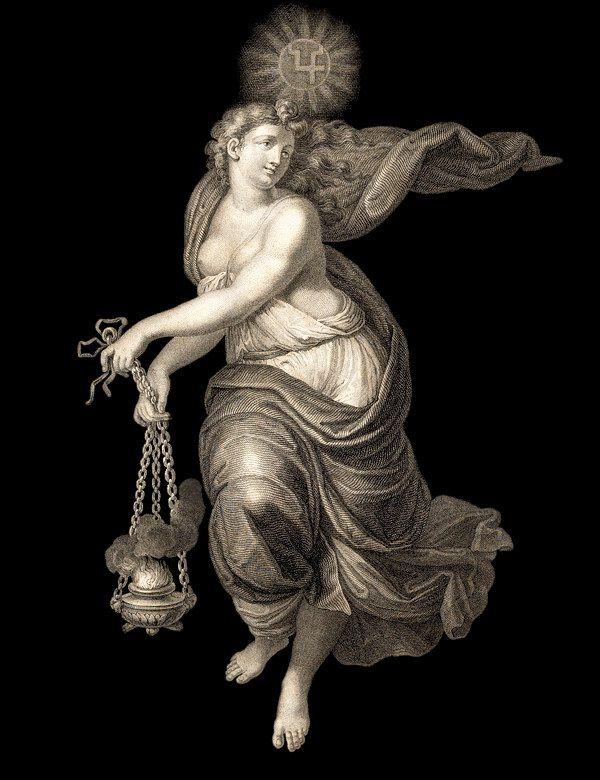 Л. Крутель. Третий час дня («Ora Terza di Giorno»)  «Часы Рафаэля» представляют собой серию из двенадцати гравюр, олицетворяющих, согласно подписям к ним, шесть дневных и шесть ночных часов. Первоисточник - Потолочная роспись Зала Понтифексов. Покои Борджиа, Ватикан. 1520-1521