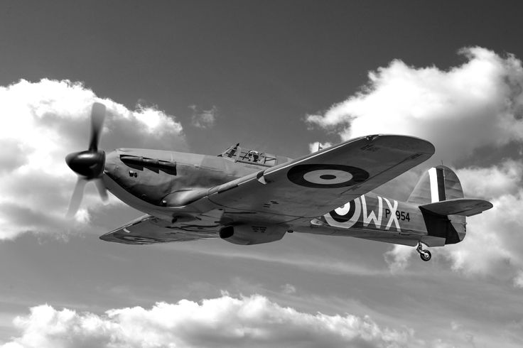 RAF Battle of Britain Hawker Hurricane fighter plane vintage aviation wall decor print 12x18in satin photo print - $25 to 36x54in canvas - $400