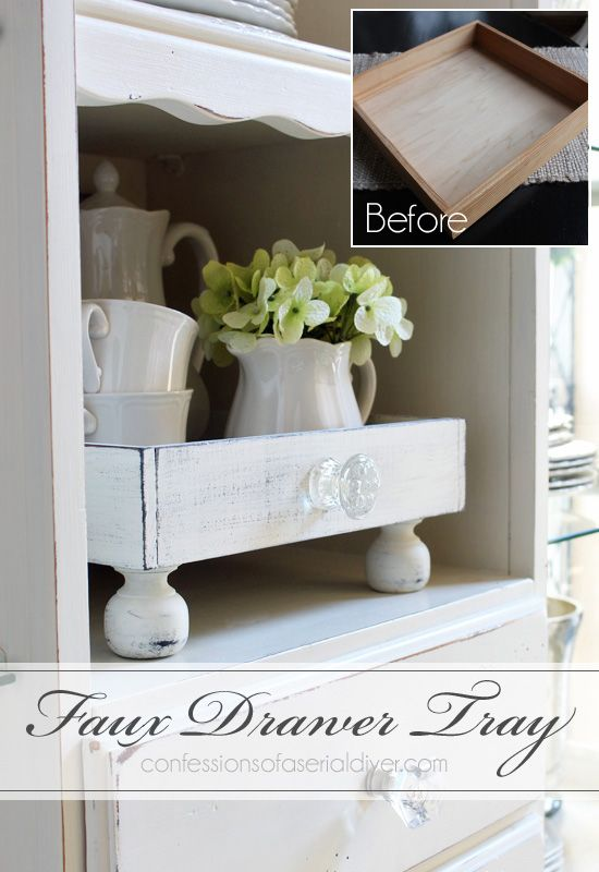 A plain tray is updated to look like a repurposed drawer...from Confessions of a…