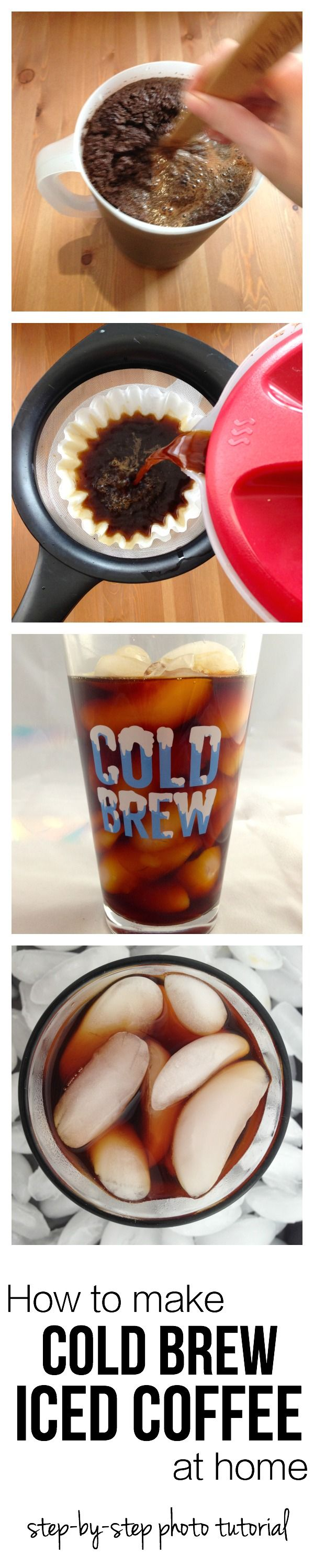 Learn how to make COLD BREW ICED COFFEE at home.  It's better than what you get at the coffee shop and so QUICK and EASY to make.  Not to mention, you'll save a bunch of money and love always having iced coffee ready to drink.