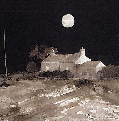 Magical watercolour; 'Moon over Watch Cottage' by Pembrokeshire artist john Knapp-Fisher. Black skies, full moon.
