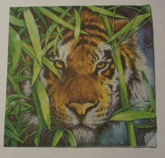 Decoupage Napkins  vintage paper napkins Lions in green by eryka91