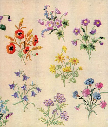 """""""Wild flowers"""", beautifully embroidered wild flowers as featured in """"Needlewoman & Needlecraft"""", April 20th, 1950, issue No.42."""