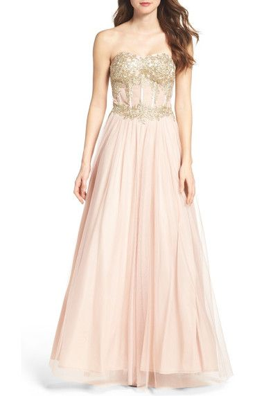 strapless bustier gown by Blondie Nites. Be a modern-day fairy-tale princess.