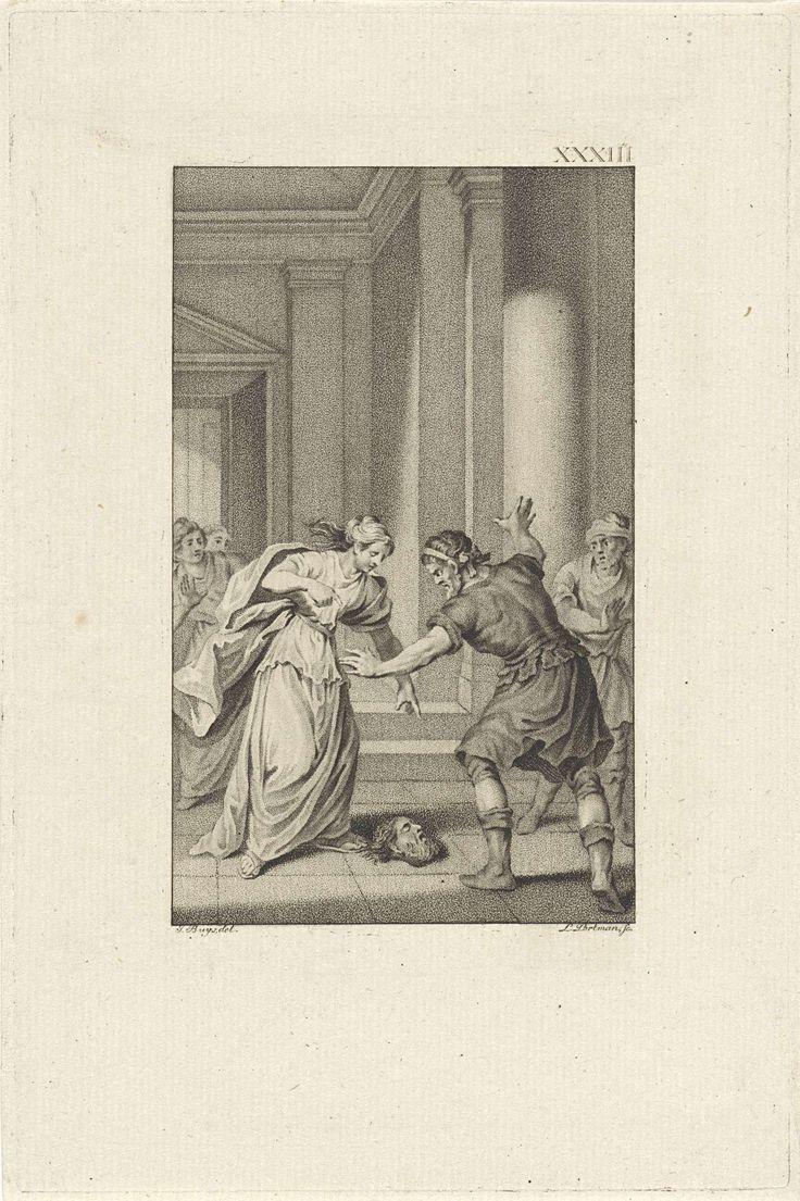 Ludwig Gottlieb Portman | Chiomara en Ortiagon, Ludwig Gottlieb Portman, 1796 | Chiomara gooit het afgehouwen hoofd van de centurio die haar verkrachtte voor de voeten van haar echtgenoot Ortiagon, stamhoofd van de Galatische Tolistoboii.