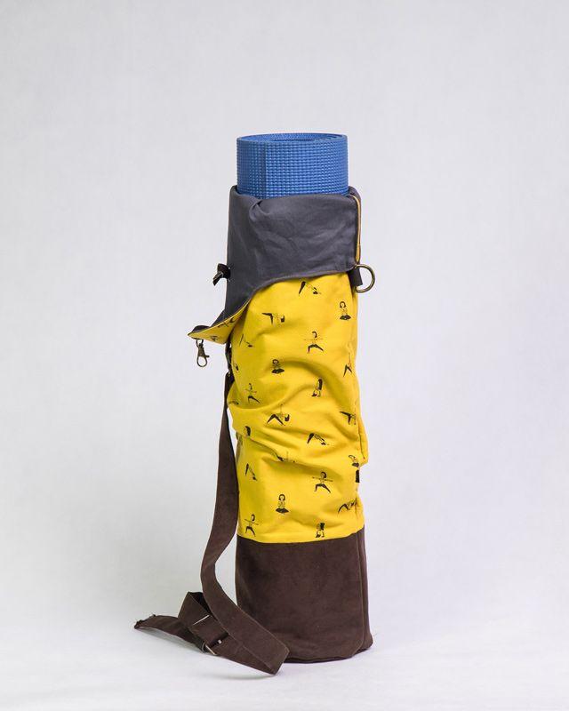 Torba na matę na jogę TADASANA żółta wzór
