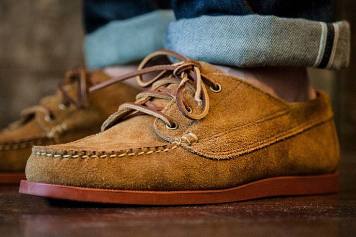Oak Street Bootmakers Red Brick Sole Trail Oxford, Peanut Horween Suede.