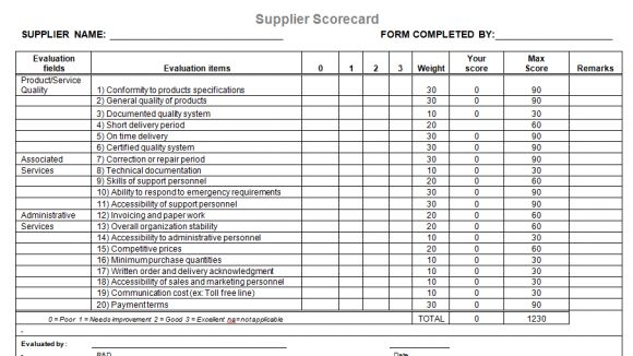 Supplier Evaluation Template For Microsoft Word  Project