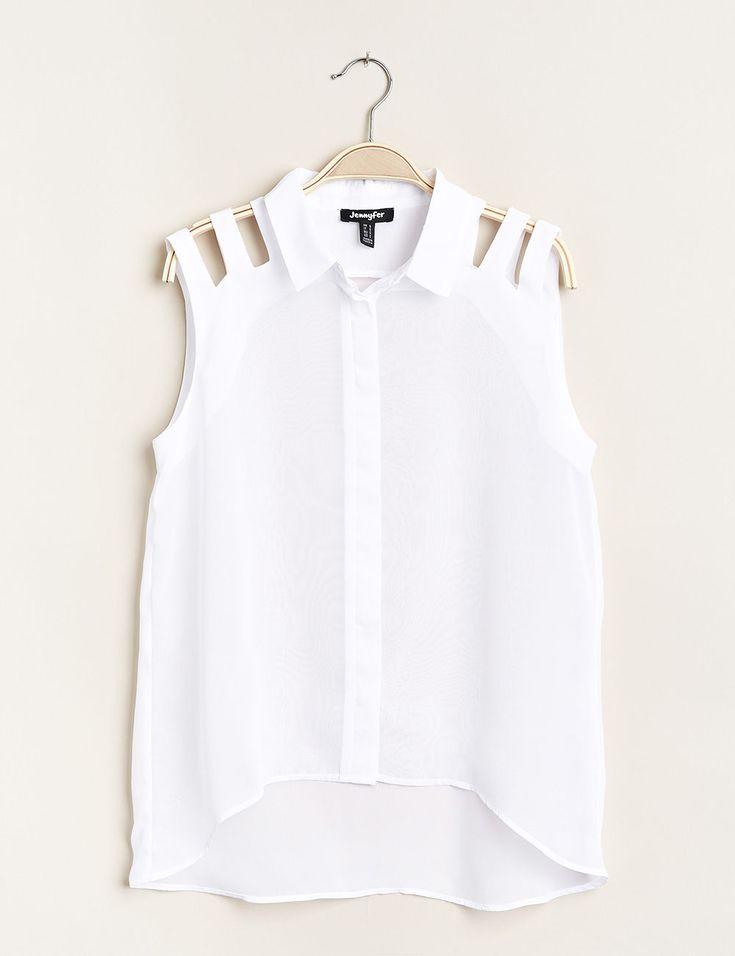 Chemise blanche à lanières - Jennyfer e-shop