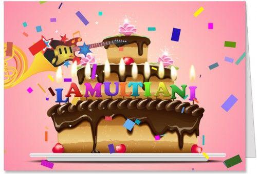 Tort de La multi ani Felicitare de La multi ani cu tort, confetti si lumanari.