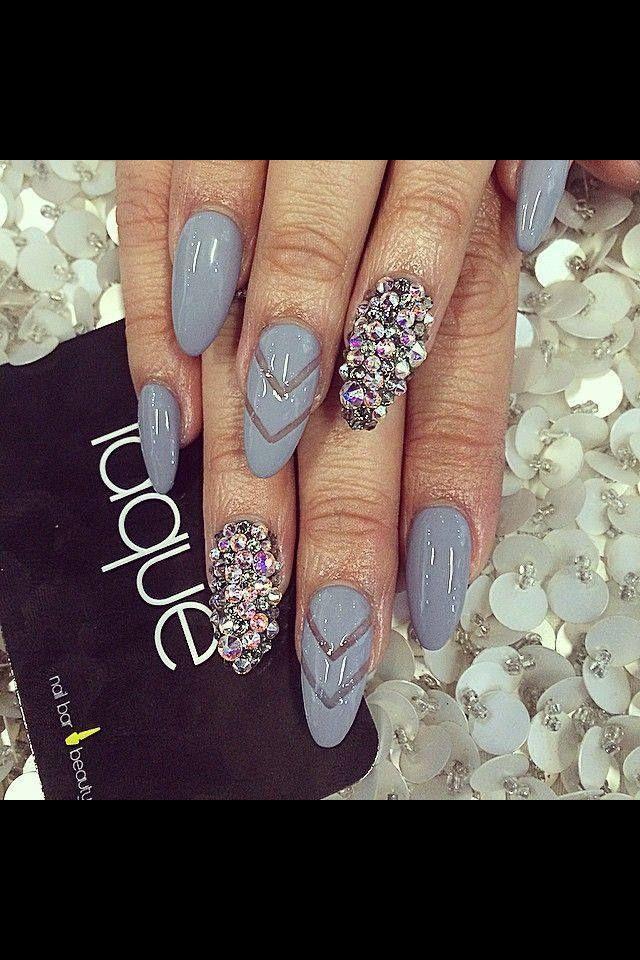 Gray acrylic nails