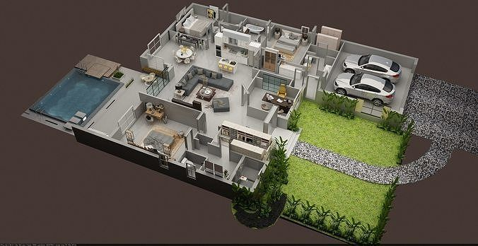 Luxury 3d Floor Plan Of Residential House 3d Model Max House Design Drawing House Design Games House Design
