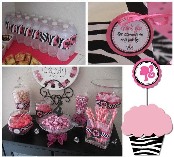 Duel Birthday Decor Zebra Barbie And Princess Themes: Barbie Birthday Party Printable Decor By