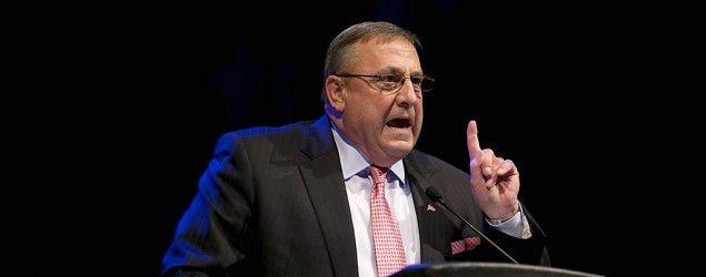 Gov. Paul LePage speaks at the Maine Republican Convention, Saturday, April 26, 2014, in Bangor, Maine. (Robert F. Bukaty/AP)