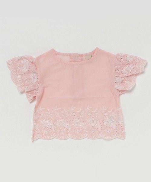 petit main(プティマイン)の「カットワーク刺繍入りプルオーバー(Tシャツ/カットソー)」|ライトピンク