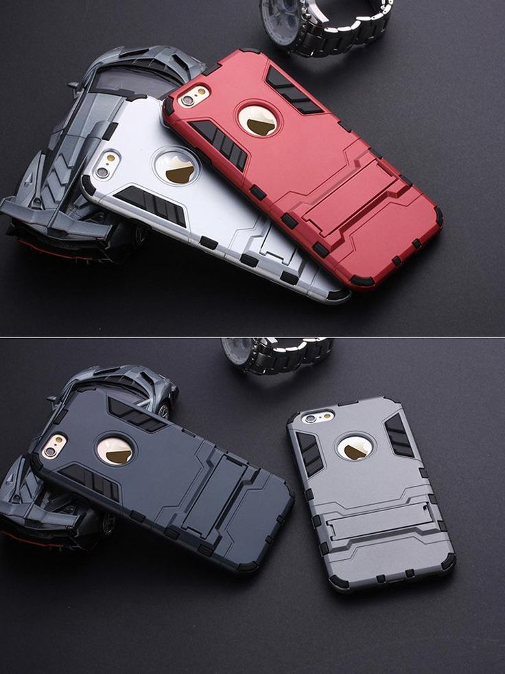 Iron Man Armor phone Cases 2 in 1 Support Mobile Phone protection shell For iphone 5 5S 6 6PLUS 6S 6S plus with stand=US $1.47