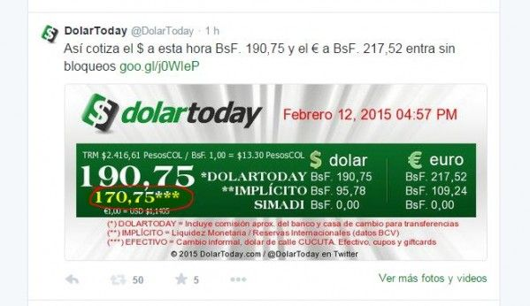 El Banco Central de Venezuela (BCV) informó que el tipo de cambio de referencia para el día de hoy es de Bs/$ 170,03. La tasa oficial publicada es, ademas,