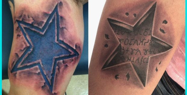 3D Star Tattoo Photos, Best 3D Star Tattoos, 3D Star Tattoos
