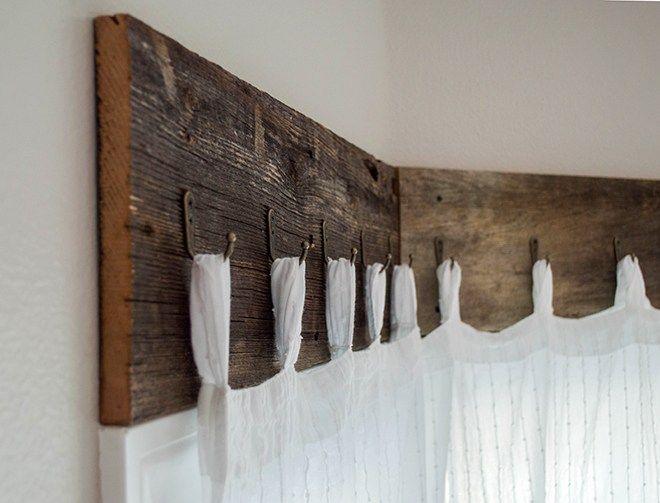 Farmhouse Window Treatments with Reclaimed Wood