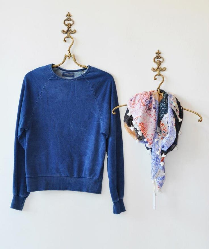 Cotton Citizen denim sweatshirt, Megan Park scarf