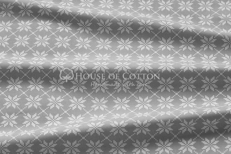 House of Cotton Bawełna szaro-białe kwiaty haft tkaniny bawełniane na metry sklep