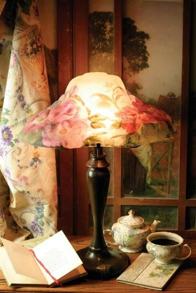 Victorian Pairpoint Style Reverse Painted Floral Puffy Lamp