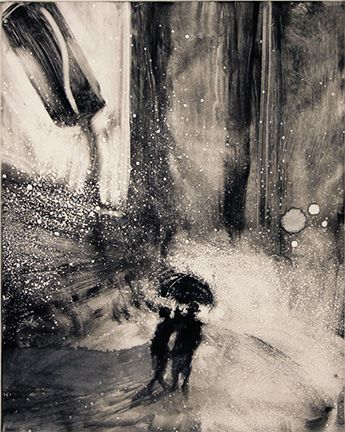 Bill Jacklin, TIMES SQUARE IN THE RAIN III, 2012. Monotype