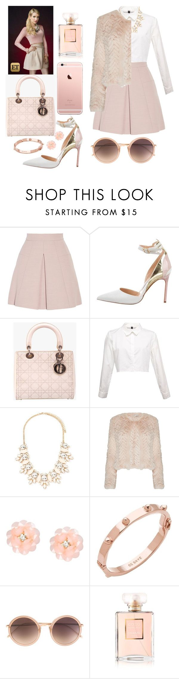 """SCREAM QUEENS - CHANEL OBERLIN inspired outfit"" by elisehart ❤ liked on Polyvore featuring Alexander McQueen, Manolo Blahnik, Christian Dior, Forever 21, Alice + Olivia, Dettagli, CC SKYE, Linda Farrow, Chanel and ScreamQueens"