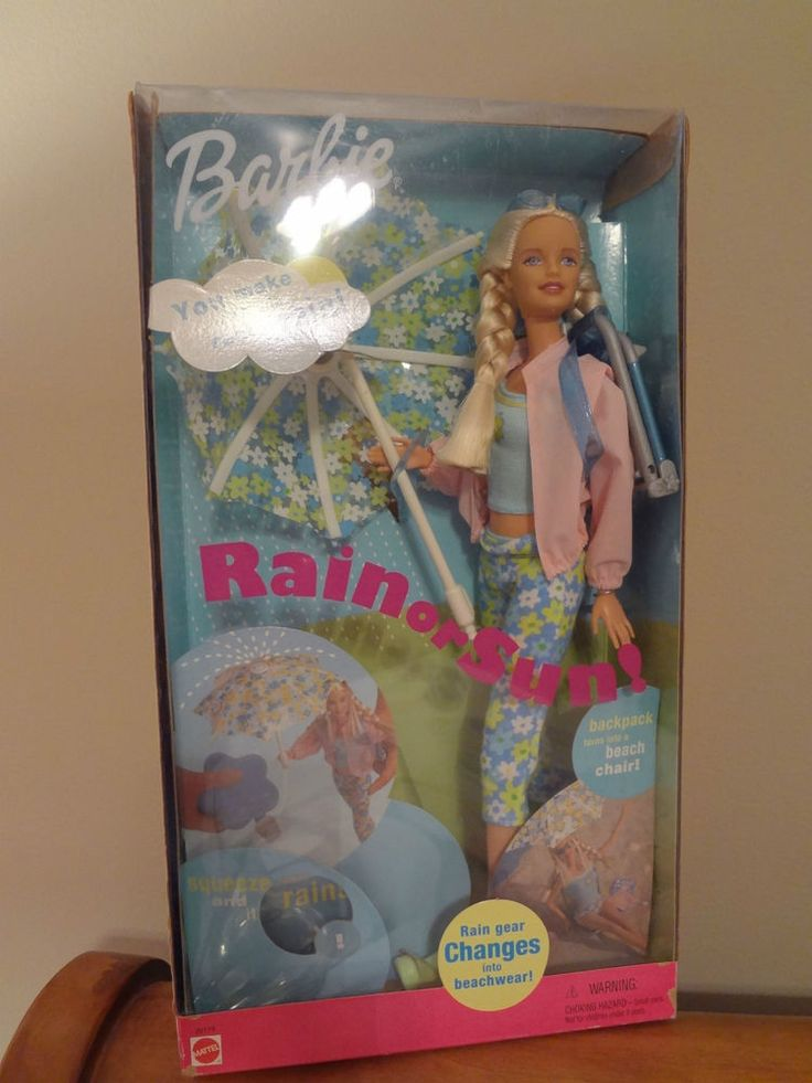 New Mattel 2000 Rain or Sun Barbie Doll & Beach Chair/Umbrella that Rains! NR in Dolls & Bears, Dolls, Barbie Contemporary (1973-Now) | eBay