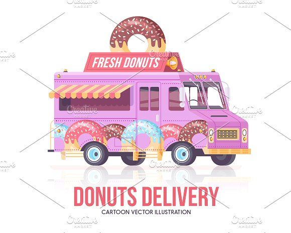 Cartoon Food Truck Donuts Cartoon Food Illustration Donuts