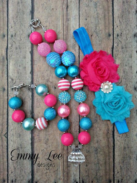 Pink Turquoise/Blue Chunky Bubble Gum Necklace Bracelet Chiffon Flower Headband Set