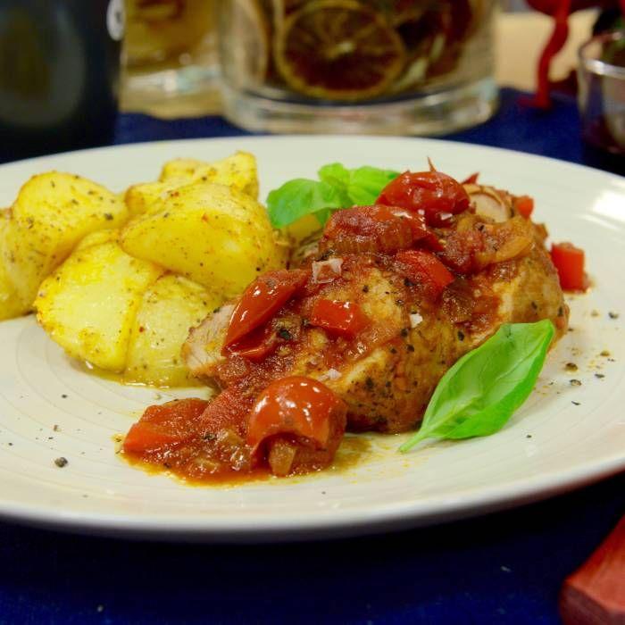 Tomat- och örtfläskfilé med saffranspotatis