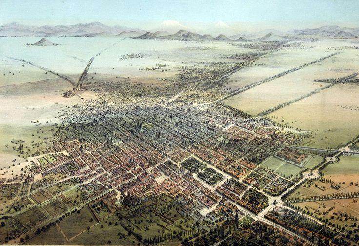 CIUDAD DE MEXICO EN 1855, una vista aérea desde un globo por Casimiro  Castro.