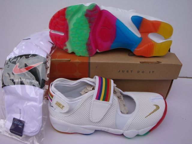 http://www.nikeriftshoes.com/nike-air-rift-white-gold-rainbow-strap-p-26.html Only$72.78 #NIKE AIR RIFT WHITE GOLD RAINBOW STRAP #Free #Shipping!