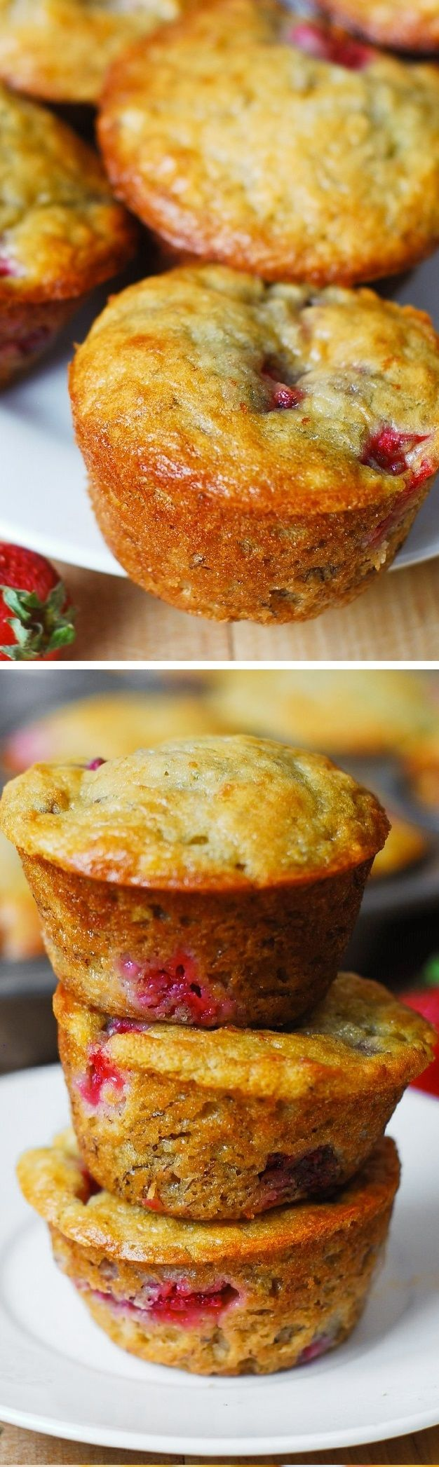 Strawberry banana bread muffins. Only 1/3 cup butter (and 1/3 cup Greek yogurt) used to make 12 regular size muffins. Greek yogurt creates a rich texture and reduces the amount of saturated fats used! #healthier #low_fat #recipes