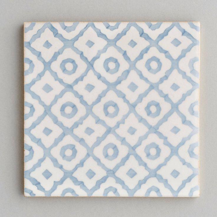 58 best austin house kitchen images on pinterest for Blue patterned bathroom tiles