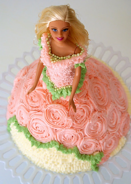 Barbie Cake Dress Decorations Idea Ruffles Roses And Beads Cakes