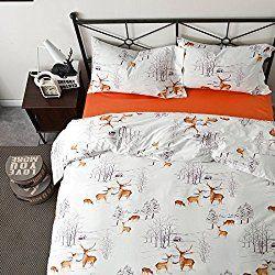 Brandream White Reindeer Bedding set Christmas Bedding Full Queen Size