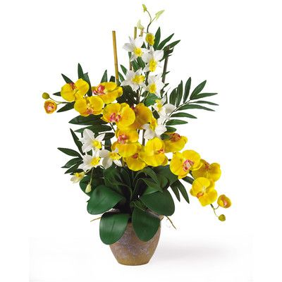 Nearly Natural Phalaenopsis & Dendrobium Silk Orchids in Yellow & Cream with Pot