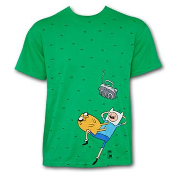 It is a green shirt in the waist this Finn and Jake lying on the grass listening to music, it's beautiful, your cost is £45.50.
