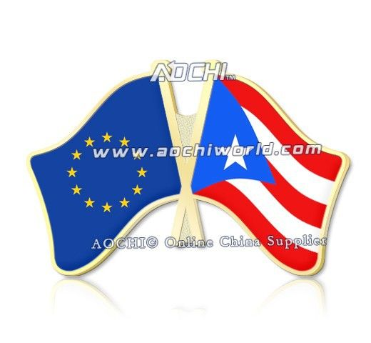 Mix высокое Качество И Матч Европейский Союз И Пуэрто-Рико Скрещенные Штыри Отворотом Флагов