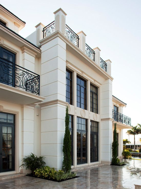 Exquisite Classic Chateau with Luxurious Design : Beautiful French Regency Chateau Exterior Traditional Glass Window
