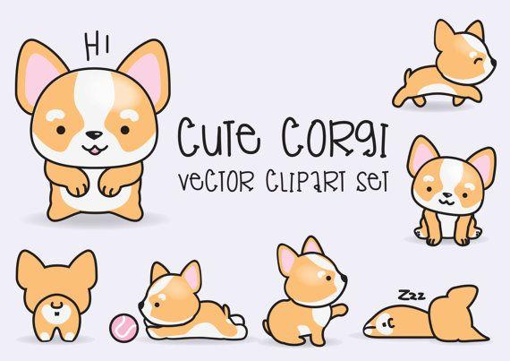 Premium Vector Clipart - Kawaii Corgis - Cute Corgi Clipart Set - High Quality Vectors - Instant Download - Kawaii Clipart