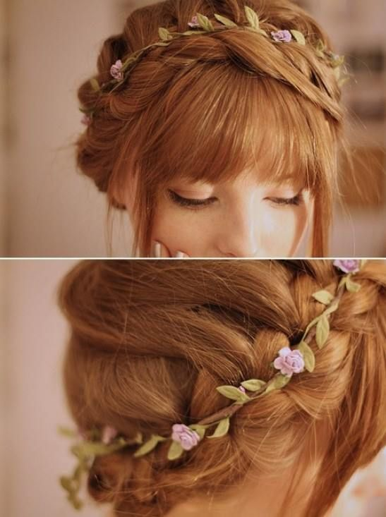 milkmaid braid with simple flowercrown and full fringe  #RePin by Dostinja - WTF IS FASHION featuring my thoughts, inspirations & personal style -> http://www.wtfisfashion.com/