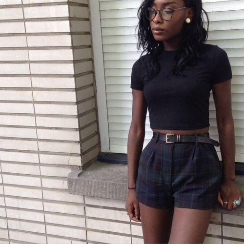 crop top + plaid shorts